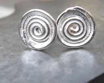 Sterling Silver Post Earrings Spiral