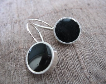 Black Classic Earrings Sterling Silver and Resin