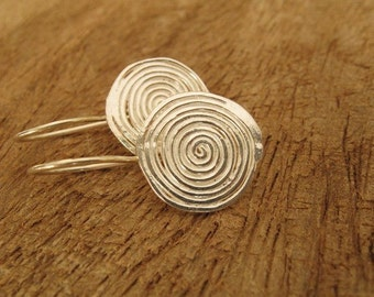 Flat Silver Swirling Earrings with Circle Design