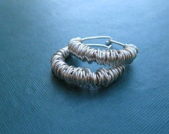 Wrapped Wire Sterling Silver Hoops
