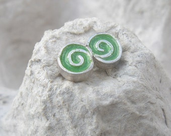 Small Studs.little post earrings.Green post earrings.Swirly Silver Studs.swirly earrings.swirly jewelry.silver studs.for girls.girls gifts