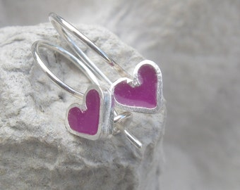 Girls Earrings Tiny Purple Heart