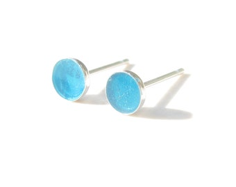 Studs Earrings-Clear blue