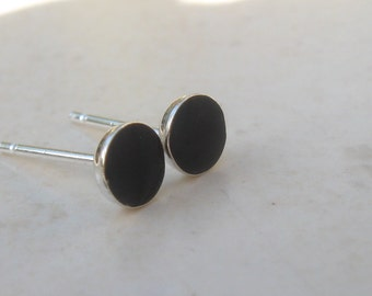 Small Black Earrings.Post Earrings.silver black earrings Black studs.tiny black earrings.little black post earrings.silver & resin post.