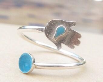 Hamsa Ring Sterling ring luck ring fit ring