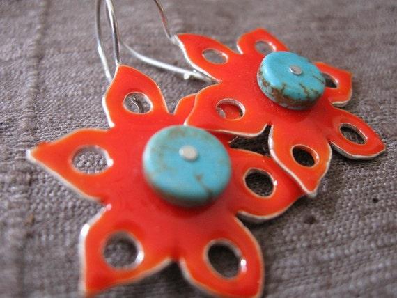 Turquoise Center Sun Earrings