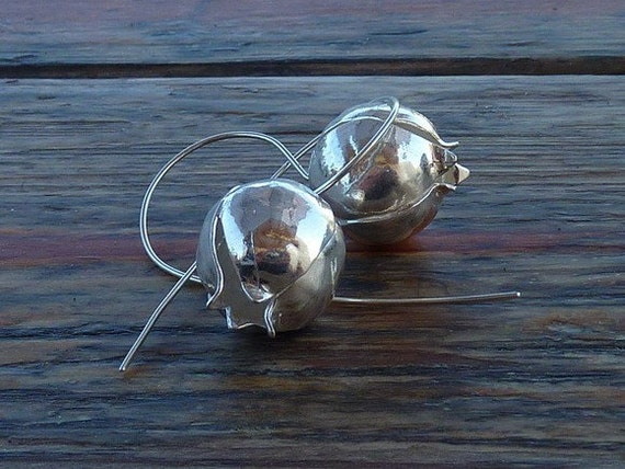 Pomegranate Silver Earrings