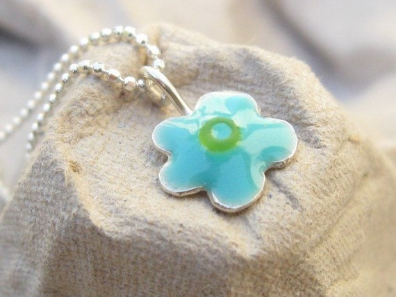 Kids Silver Tiny Turquiose  Flower Necklace