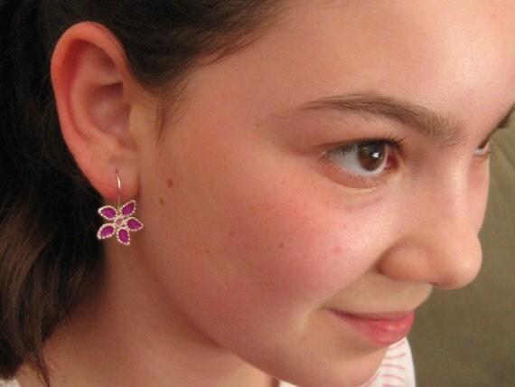 Girls Earrings Sterling Silver  Five Petal Purple Flower