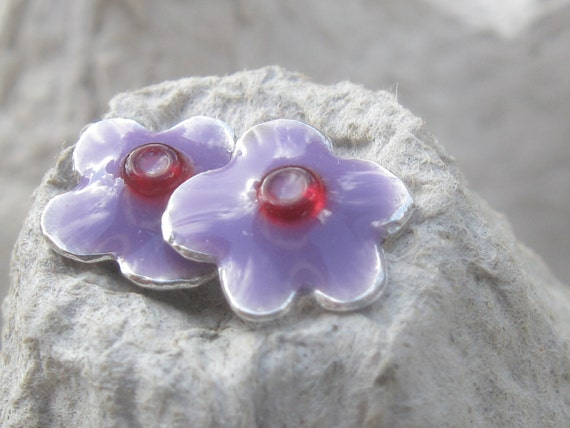 Girls Earrings Silver Studs Tiny Flower Purple earrings.under 30.girls gift.girls jewelry.purple post earrings.silver &resin post earrings.