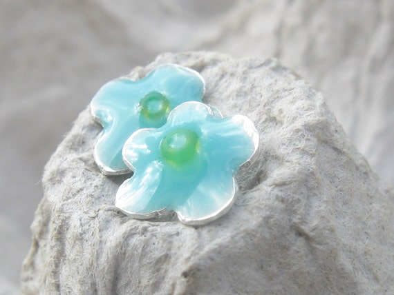Girls Earrings Silver Studs Tiny Flower Light Blue and Green Beads