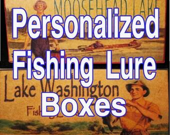 Fisherman's lake fishing cabin decor vintage style lure boxes trout michigan minnesota