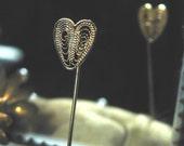Vintage Filagree Heart Shaped Stick Pin