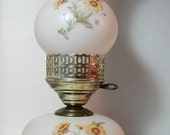 Two Vintage Vanilla Fenton Style Electric Hurricane Frosted Globe Lamps