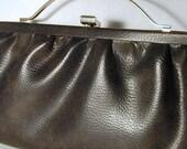 Brown Leatherette Handbag with Arched Goldtone Handle