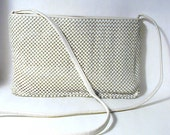 Vintage Bone White  Whiting and Davis Shoulder Strap Purse