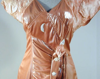 French Designer Maick Harold, Wet Coffee Color Dress