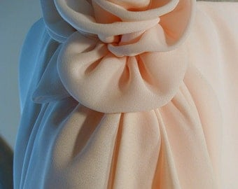 Peach Chiffon Layered Frank Usher Dress with Flower at the Shoulder 10