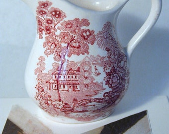 Red-White Pitcher/Creamer Royal Crownford Ironstone, England