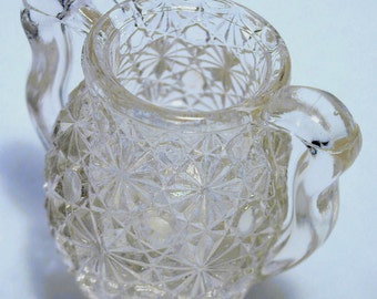 Two Handled Depression Toothpick Holder Starburst Pattern Clear Glass