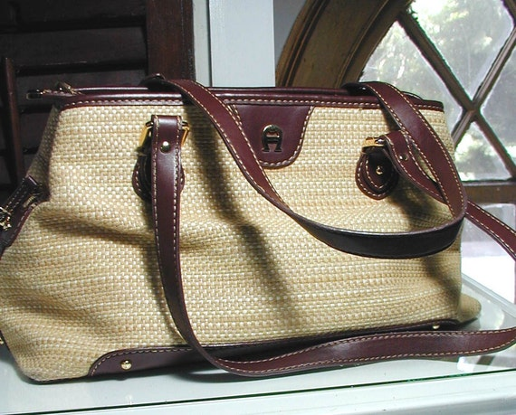 Vintage Etienne Aigner Leather and Straw Purse with Multiple Compartments