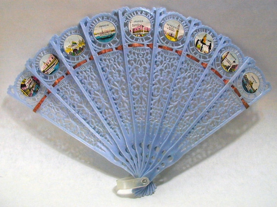60s Venice, Italy, Vintage Fan with Historic Images