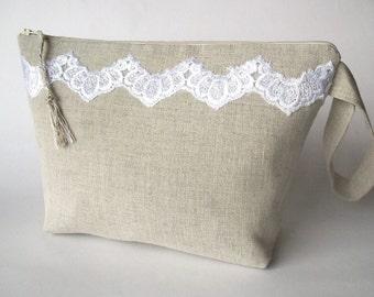 Knitting bag, crochet bag, yarn holder, linen project bag, crochet project bag, WIP bag, linen bag floral design, project bag, medium size