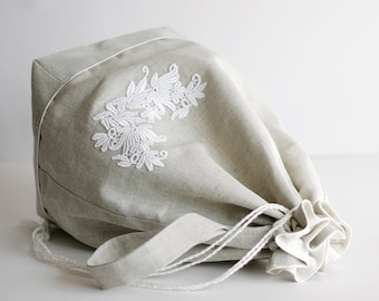 Knitting project bag, crochet project bag, knitting bag, drawstring bag, yarn holder, wip bag,sock bag, Large size linen lace flowers