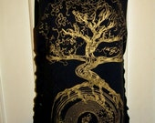 Destroyed Black and Gold Tree  Upcycled  Shredded Reconstructed Tee Tank Top