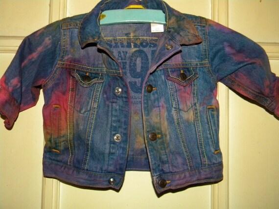 Toddler Baby Tie Dyed Upcycled Jean Jacket Size 9 Months Oshkosh