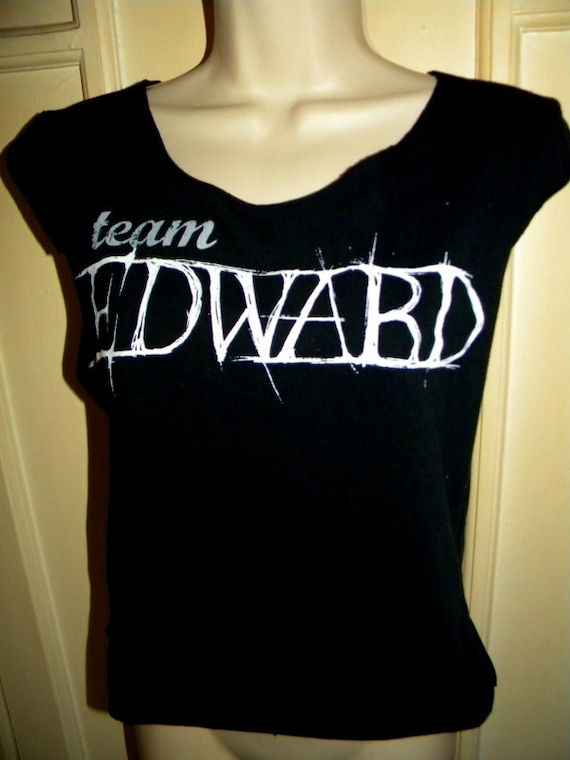Destroyed Team Edward Vampire Twilight Upcycled  Shredded Reconstructed Tee Tank Top
