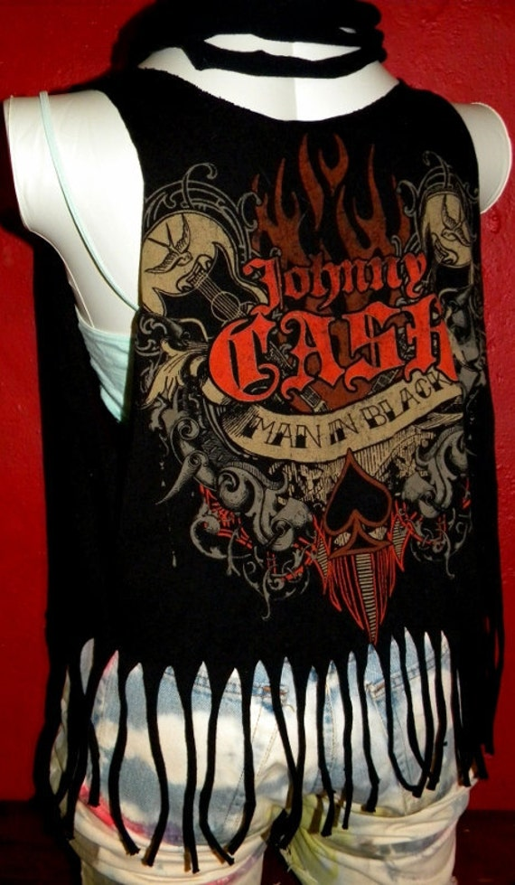 SALE Johnny Cash Man in Black  Musician Vest   Upcycled  Reconstructed Tee Beach Cover up Summer Top