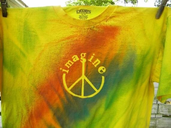 John Lennon Imagine Peace Tie Dye Painted  Upcycled T Shirt X Large