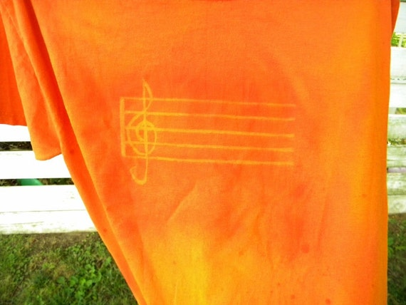 Reserved for Robin Orange Staff and Treble Clef Upcycled T Shirt Tee  Top Size Medium