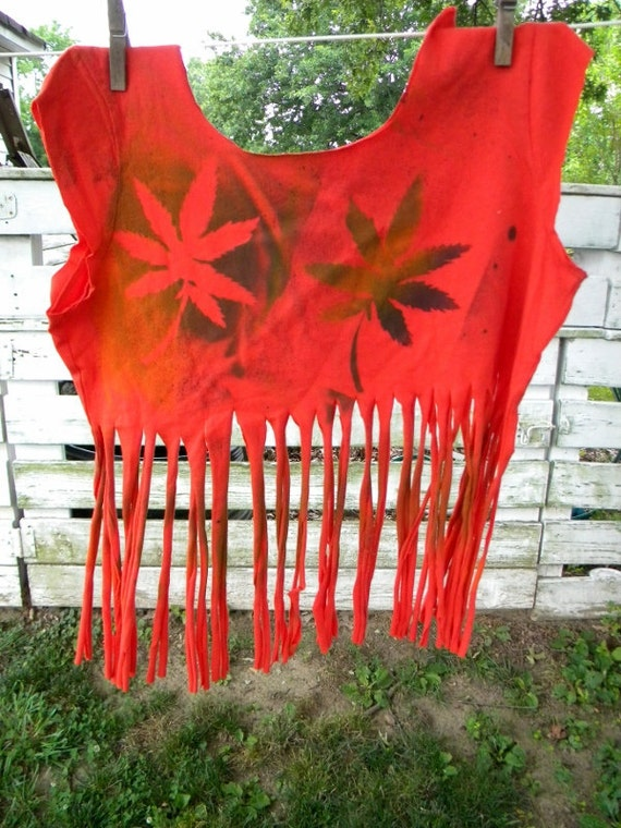 Hippie Tie Dye Cannabis Leaf Upcycled  Shredded Fringe Reconstructed Tee Tank Crop Top Marijuana Reefer Pot Weed