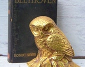 Vintage golden owl, highly detailed, moulded plastic, age crackled patina, regency style, home decor, paperweight on Etsy - Treasury Featured x3