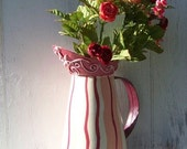 Vintage, hand painted, tin, water pitcher, candy striped, vase, planter, decor, summer party centerpiece, shabby chic, red, pink, white - Treasury Featured