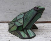 TREASURY FEATURED - Vintage, leaded, stained glass garden frog, green glass, glass eyes, garden decor on Etsy