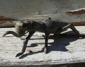Cast iron grasshopper, garden decor, doorstop, paperweight, beautiful aged patina, verdigris, cricket, bug, insect