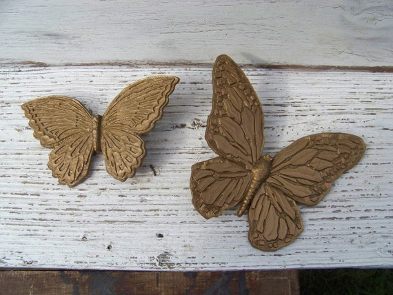 Pair of vintage 1967 Homco butterfly wall decor, goldtone molded plastic on Etsy