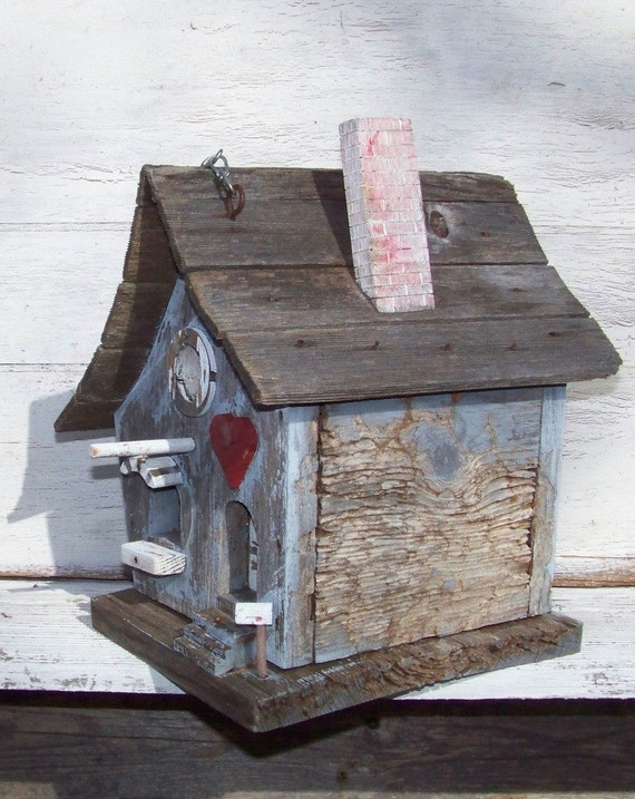 Vintage shabby chic birdhouse, weathered cornflower blue, one of a kind, handmade Texas folk art, hand painted, very unique, cottage life, Americana on Etsy - Treasury Featured x 5