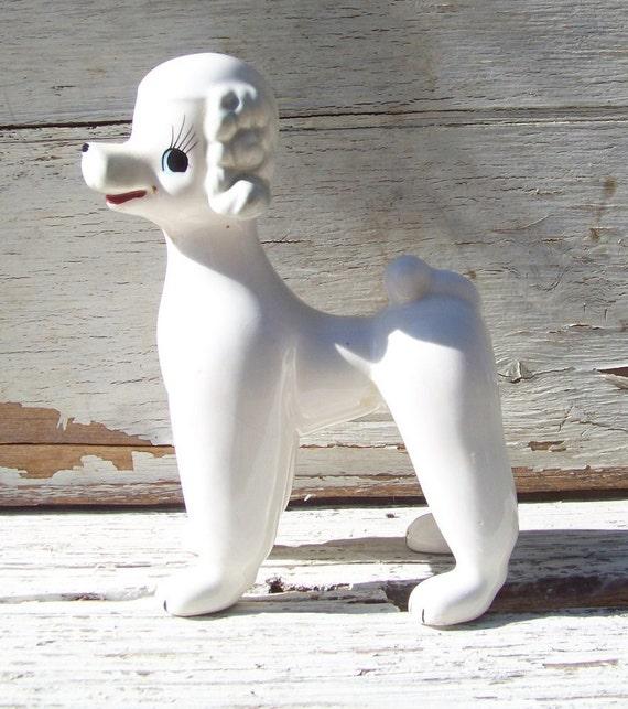 Vintage Sonsco porcelain poodle figurine, statue, white, hand painted details, 1950s, Japan, dog, puppy