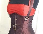 Steampunk Corset, brown underbust corset, steel boned, custom made, silk taffeta