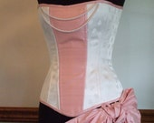 """Sample SALE 20"""" (for 22-26"""" natural waist) Ivory Silk Corset, Steel boned, ready-to-ship"""