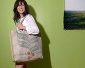 Large Burlap Beach Tote No.11
