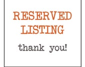 Reserved Listing for Shawna Myers