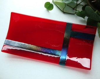 Platter - Abstract Design Red Fused Glass