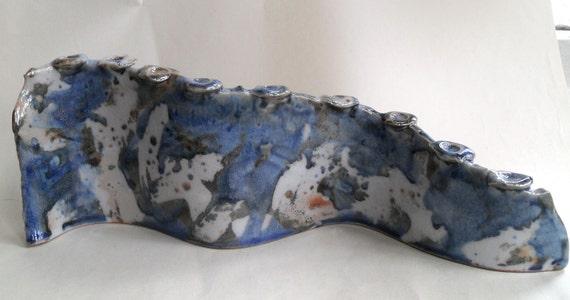 Standing Wall Menorah -blues,whites, grays & golds