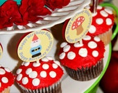 Birthday Party Decorations, Cupcake Toppers, Garden, Gnome, GIrl Birthday, Boy Birthday, Custom (25 Toppers)