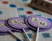 Wedding, Birthday, Decorations, Scrabble Cupcake Toppers (12 Toppers)